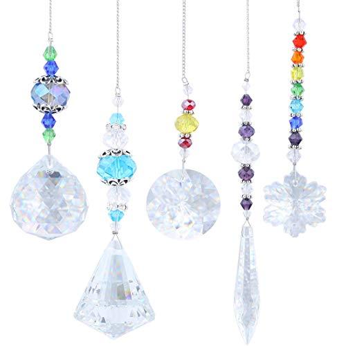 YUFENG Fensterdekoration, hängend, achteckige Kristall- und Perlenelemente, Sonnenfänger, Geschenkidee. 5 Stück