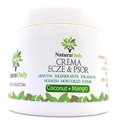 Natura Only-Crema de eccema y psoriasis de mango y coco-crema natural e intensiva con miel de manuka, aloe vera. pieles secas, con picazón, enrojecidas y escamosas. Aroma natural del mango y el coco