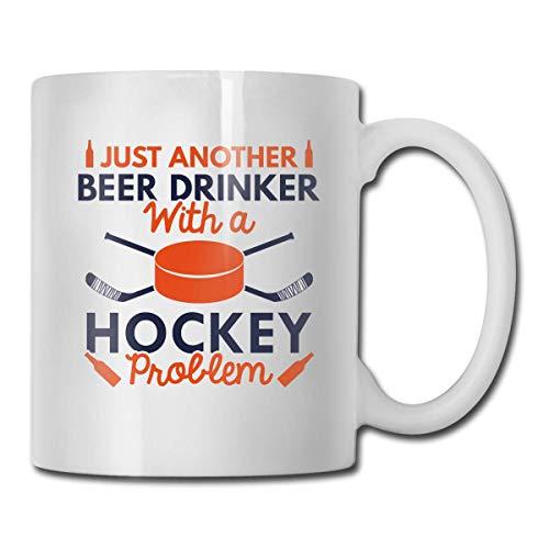IUBBKI Bebedero de cerveza Hockey 11 oz Taza de cerámica blanca brillante con asa en C grande