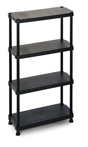 TERRY Scaffalino 1230-4 Estantería Modular con 4 Estantes. Negro, 75x30x135 cm