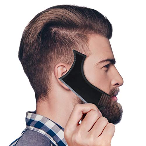 Housmile Beard Shaping Template All in One Beard Styling Tool for Men Work with Any Beard Razor and Electric Trimmers Ideal for Home Travel and Business Black