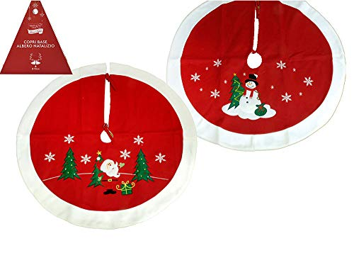 BUYSTAR Copri Base Albero di Natale Mantello sottoalbero Bianco Rosso decori addobbi Natale Babbo Natale Pupazzo di Neve Shabby Chic