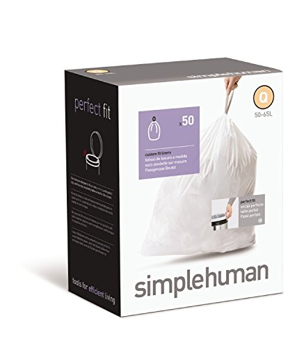 simplehuman Custom Fit Trash Can Liner Q, 50-65 L / 13-17 Gal, 50-Count Box