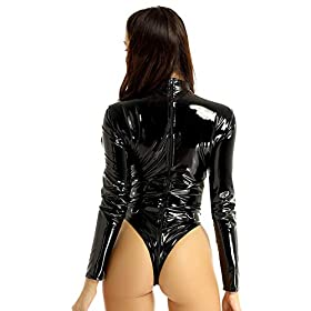 QinCiao Women's Wetlook Long Sleeves Zipper Teddy Thong Leotard Bodysuit Nighclub