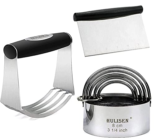 HULISEN Stainless Steel Pastry Scraper, Dough Blender & Biscuit Cutter Set