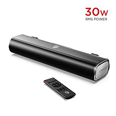 PC Soundbar, BOMAKER 16-Inch 2.0 Sound Bar, 30W RMS Bluetooth 5.0 Mini Soundbar for TV, Remote Control, Optical, RCA Cable Included, 105dB, 3 EQ Modes by BOMAKER