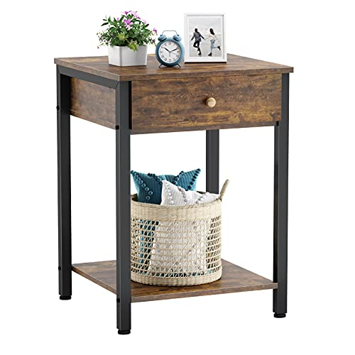 Ecoprsio Nightstand Industrial End Table Side Table with Drawer and Storage Shelf Wood Night Stand Rustic Bedside Table for Bedroom, Living Room, Sofa Couch, Hall, Easy Assembly