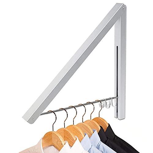 LIVEHITOP Kleiderhaken Klappbar Wand Kleiderständer, Aluminium Kleiderbügel mit Kleiderhaken, Kleiderlüfter Wandgarderobe Haken Halter für Schlafzimmer Badezimmer Balkon Indoor Outdoor