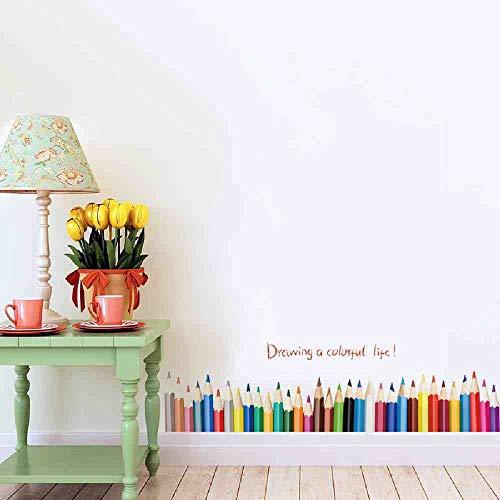 JPDP 3D DIY Creatief Gekleurd Potlood Tekenen Rokken Raam Stickers Home Decor Woonkamer Baseboard Muurstickers PVC Home Decor