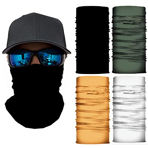 4 Pack Cooling Neck Gaiter Scarf UV Protection, Bandana Face Mask Wrap (Black,White,Yellow,Green)
