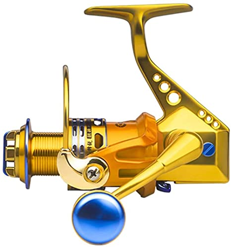 Fishing Vessel 18-axis Parallel Roll Metal Cast Rod Sea Pole Long Throw Spinning Wheel Adjustable Lightweight Front Unloading Force (Color : Gold, Size : 6000)