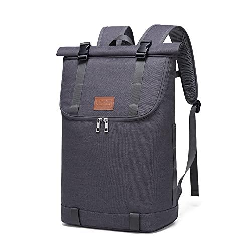 Myhozee Damen Rucksack Herren Wasserdichter Roll Top Rucksäcke Laptop Rucksack 15,6 Zoll Diebstahlschutz Daypacks, Schulrucksack Tagesrucksack Stilvolle Schultasche für Freizeit Outdoor-Dunkelgrau