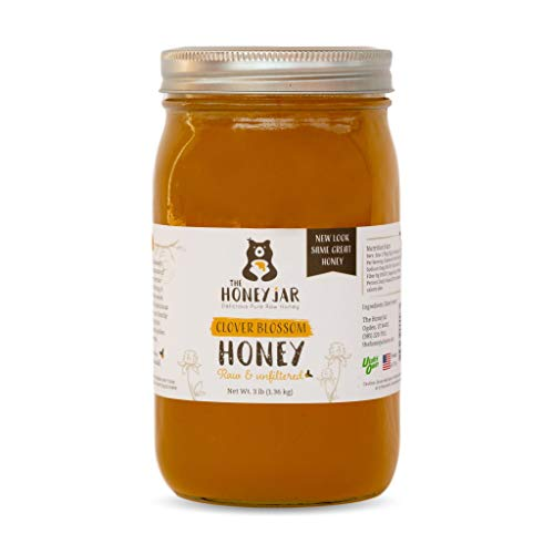 The Honey Jar - 48oz (3lbs) Glass Jar Of Pure Raw Clover Honey | Unfiltered, Unpasteurized, 100% American Grade A Honey From Family-Owned Farms
