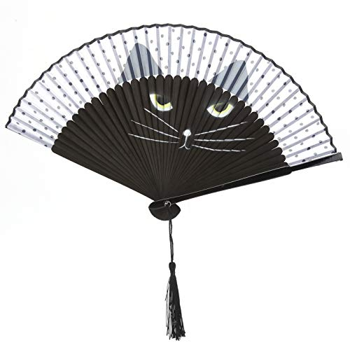 SALUTUYA Ventilador de Dibujos Animados para Gatos, fácil de Plegar y Abrir, Ventilador Plegable de Mano para Mantenerse Fresco,
