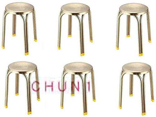 6 paquetes, Silla de comedor redonda de acero inoxidable taburete redondo taburete vector gruesa de oro de lujo 114 1010