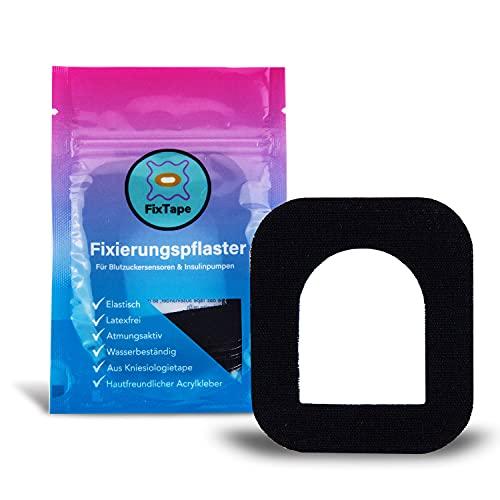 FixTape luftgenomsläppande Fixeringstejps för OmniPod I självhäftande plåster med hål för slanglösa insulinpumpar I hypoallergen hudvänlig vattentät i modern design I 7 Stk (Svart)