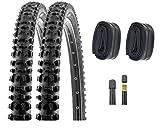 P4B 2 neumáticos de bicicleta de 26 pulgadas (54-559) con cámaras AV, 26 x 2,00, con tacos laterales para un buen agarre en las curvas.