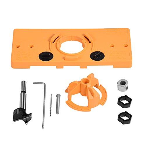 35 mm Topf-Stil verdeckte Scharnierbohrung Bohrloch Führungsfräser Bit Set, Türbohrschablone/Forstner-Bit-Set, für Kreg System Tischler Holzbearbeitung DIY Werkzeuge