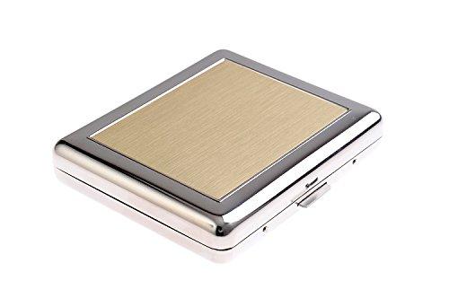 Étui à Cigarettes Fait en Acier Inoxydable de Haute qualité, Design Bauhaus, élégant et Moderne, avec Les Bords Fait en Alliage d'aluminium, argenté/doré, 789-01
