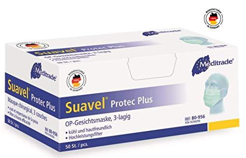 Suavel protec plus Mundschutz grün mit Gummizug, 50 Stück, Made in Germany Nr. 80956
