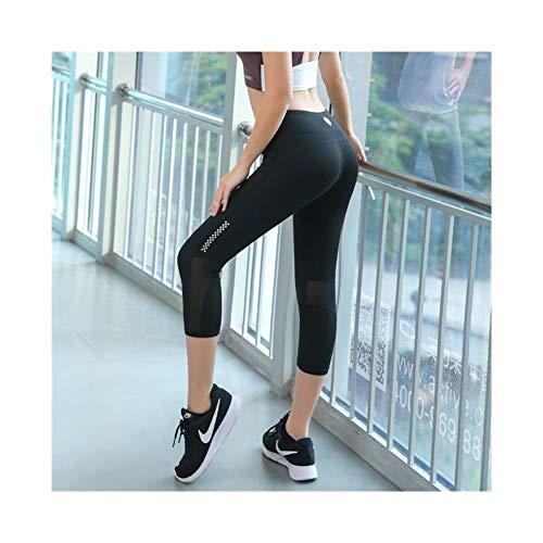 Polainas Mujer Yoga Pantalones Ajustados De Secado Rápido con Malla Transpirable Lado De Entrenamiento Deportivo Pantalón Se Utiliza en el Gimnasio de Yoga, Correr (Color : Negro, Size : S)