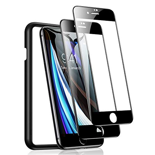 TORRAS Nur für iPhone SE 2020 Panzerglas Full Screen [mit Fehlerfreiem Positionierungsrahmen] Panzerglas iPhone SE 2020 Folie [Schutz nach Militätstandard] Schutzfolie iPhone SE 2020 Glas - 2 Stück