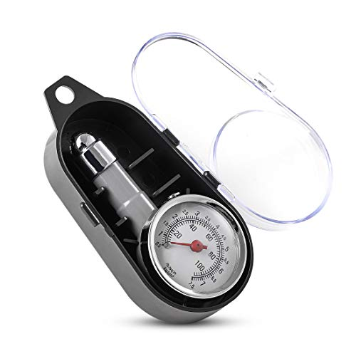 CZC AUTO Small Tire Pressure Gauge Accurate Mechanical Zinc Alloy Air Gage Single Chuck Dial Wheel Pressure Tester for Motorcycle Bike Car RV Bicycle SUV ATV 10100PSI 0575KG/c㎡