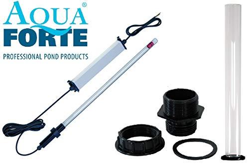 AquaForte Tauch UVC Strahler als 3 tlg. Bausatz, Tauchstrahler für Ihren Koi Teich und Teichfilter zu Entkeimung und Algenvernichter (75 Watt)