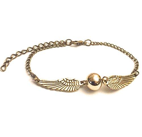 Chamber37® Snitch alas de bronce y bolita de oro pulsera