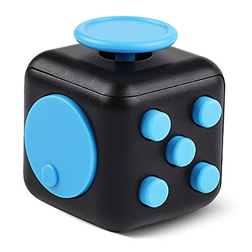 Supzone Fidget 6 Sides Dice Fidget Finger Toys for Adult Kids Hand Cube Mini Gadget Spinner for Stress Anxiety Relief Fidget Toy Cube for Autism,ADD,ADHD,OCD-Black & Blue