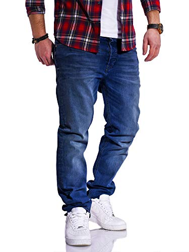 JACK & JONES Herren Jeans Clark ARIS Regular Fit Straight Leg Denim Herrenhose (W32 L34, Dark Blue Denim)