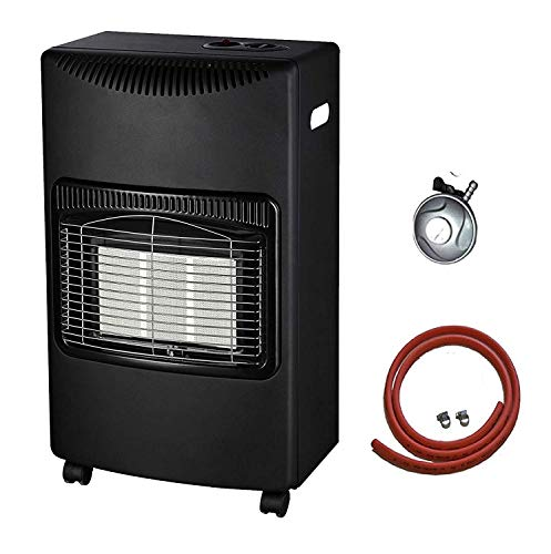 NEW 4.2kw Calor Gas Heater Free Standing Butane Gas Heater Portable Heater with with wheels comes with Free Hose and Regulator (Black)