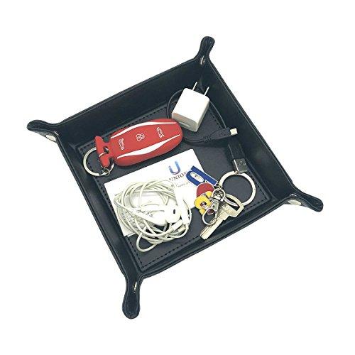 Unionbasic - Bandeja de almacenamiento multifunción de piel sintética para joyas, llaves, teléfono, monedas, color negro