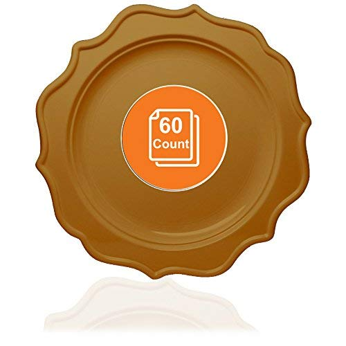 Tiger Chef 60-Count, 10-inch Deep Gold Color Round Scalloped Rim Disposable Plastic Plate Set Includes 60 Plastic Dinner Plates - BPA-Free