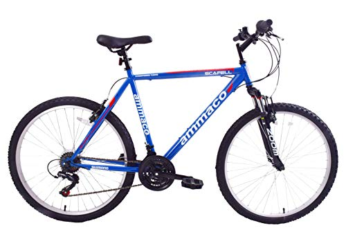 Ammaco Scafell 26' Wheel Mens Mountain Bike 21' Frame Blue Red Front Suspension 21 Speed