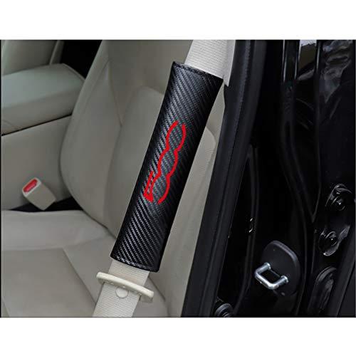 HUAQIEMI 2Pcs Carbon Fibra Seguridad Almohadillas Cinturón, para Fiat 500 Adultos y Niños Acolchado Hombro Funda, Seat Belt Shoulder Comfort Protection Accessories