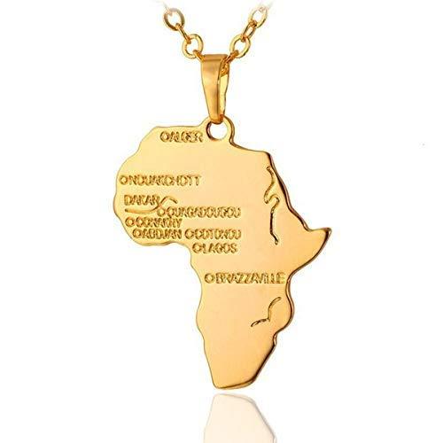 Halskette mit Afrika Anhänger Damen Herren/Hip Hop Kette/Afrikanische Kette