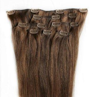 55,9 cm méché 100% Remy extensions de cheveux humains 7 pièces à clipser # 4/30 brun auburn
