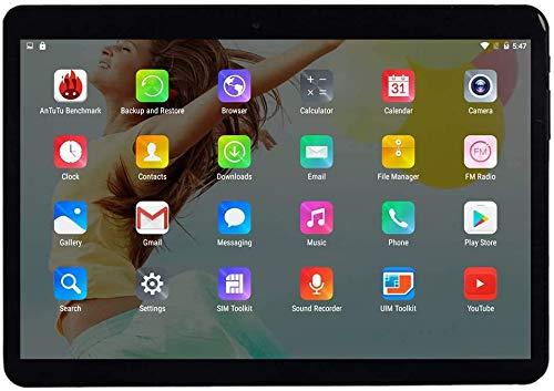 Android 9.0 Tablet 10 Zoll mit SIM-Kartensteckplätzen 4 GB RAM 64 GB ROM Quad Core 3G freigeschaltetes GSM-Telefon Tablet-PC Eingebauter WiFi Bluetooth GPS (Schwarz grau)