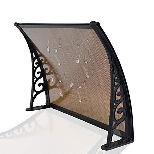 Auvent De Porte Store Entrée Marquise Porte Couverture Entrée Porte Extérieur Porche Terrasse Toit (Color : Brown Plate, Size : 60cmx120cm)