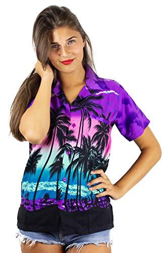 Funky Camisa Blusa Hawaiana, Manga Corta, Beach, Púrpura, L