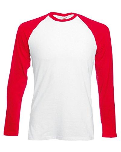 Fruit of the Loom T-shirt de baseball à manches longues pour homme Blanc/noir Taille S