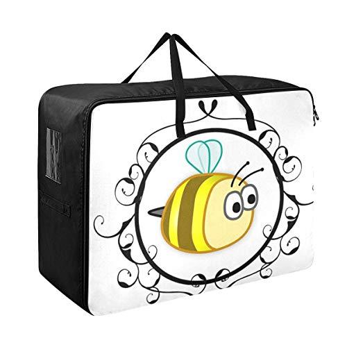 Almacenamiento debajo de la cama Organizador Amarillo abeja Enmarcado Diseño animal lindo Bebé Ropa de verano Contenedores Organización 70 X 50 X 28 cm Edredón Colcha Almohada Equipaje Mover Totaliza