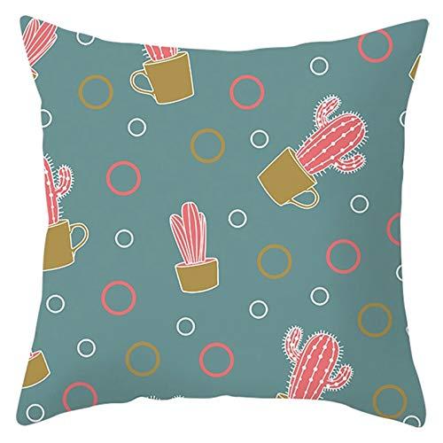 Socoz Funda de poliéster, poliéster con círculos de cactus rosa, gris oscuro, fundas de almohada