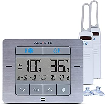 AcuRite Digital Wireless Fridge and Freezer Thermometer with Alarm and Max/Min Temperature for Home and Restaurants  00515M  4.25  x 3.75  Stainless Steel Finish