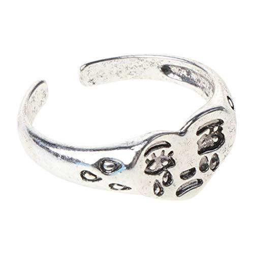 Max-Tonsen Weinen Herz Ring Vintage Silvery Open verstellbare Ring Band Modeschmuck,
