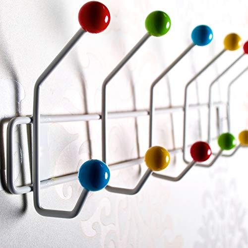 DESIGN DELIGHTS GARDEROBENLEISTE Colour Ball | 50x15,5cm(LxH), Garderobe mit 12 Haken, Hakenleiste mit bunten Kugeln, farbenfrohe Wandgarderobe bunt | Farbe: Weiss-bunt