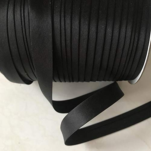 12 yards 5/8 inch Single Fold Satin Bias Tape 20 different colors In Black