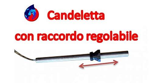 CANDELETTA ACCENSIONE STUFA A PELLET UNIVERSALE 190MM D.10 330W CON RACCORDO REGOLABILE 3/8' COMPATIBILE 90% STUFE