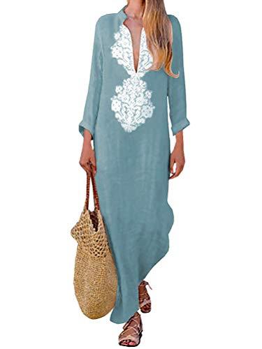 Tomwell Femme Chic Elégant Charmant Bohème Kaftan Robe Longue Maxi Col V Mangches Longue Imprimé Floral Tunique Robe (40 FR, Bleu)
